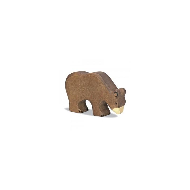 Oso comiendo - Animal de madera