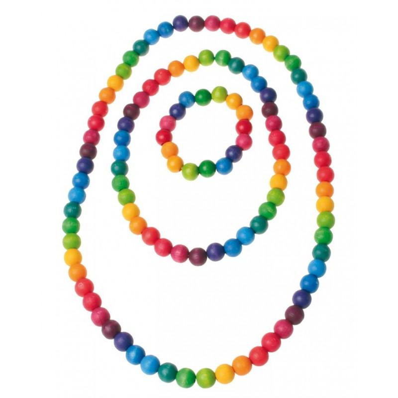 Bolas de madera pequeñas arco iris