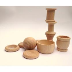 Objetos de madera para panera de los tesoros