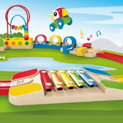 Circuito de tren musical y pasabolas