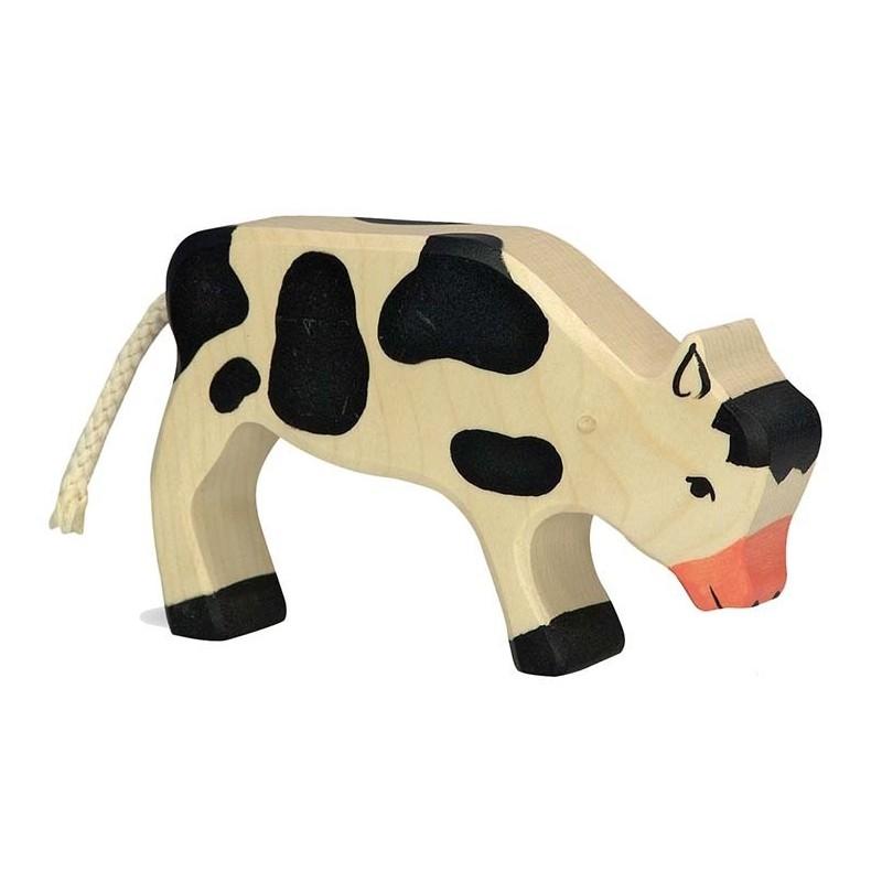 Ternero pastando - Animal de madera