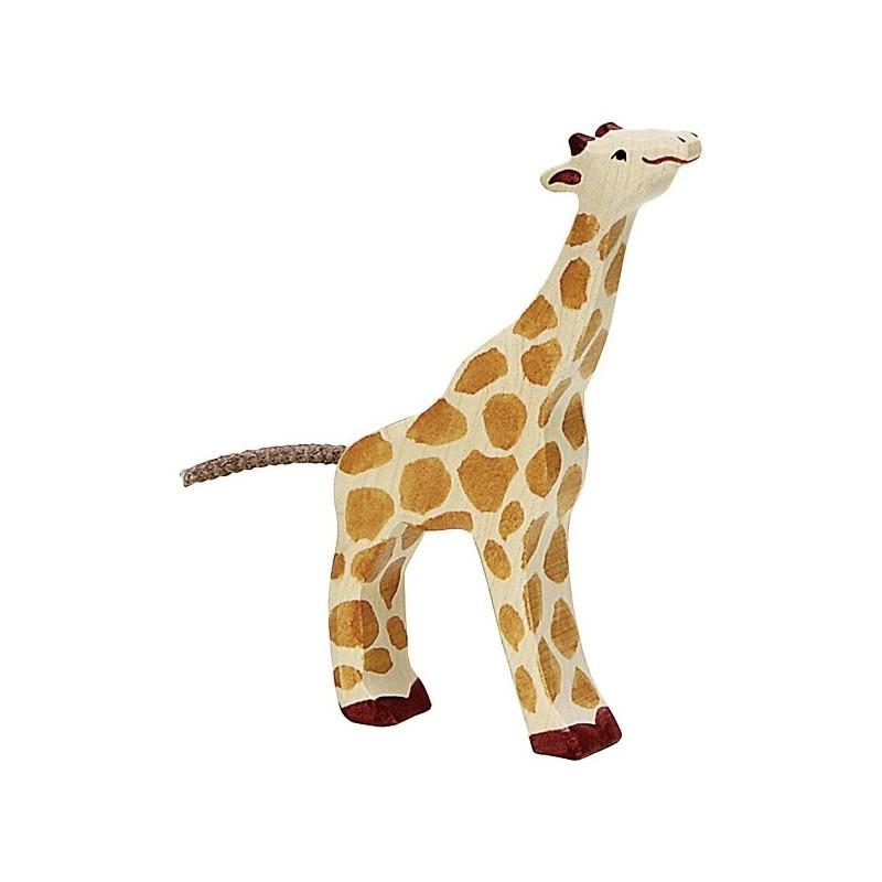 Jirafa pequeña pastando- Animal de madera