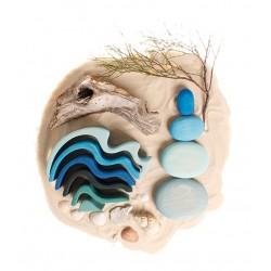 Piedras de río en madera (azul)