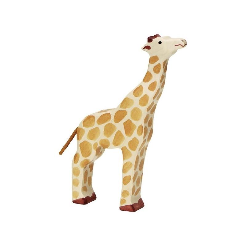 Jirafa con cabeza levantada- Animal de madera