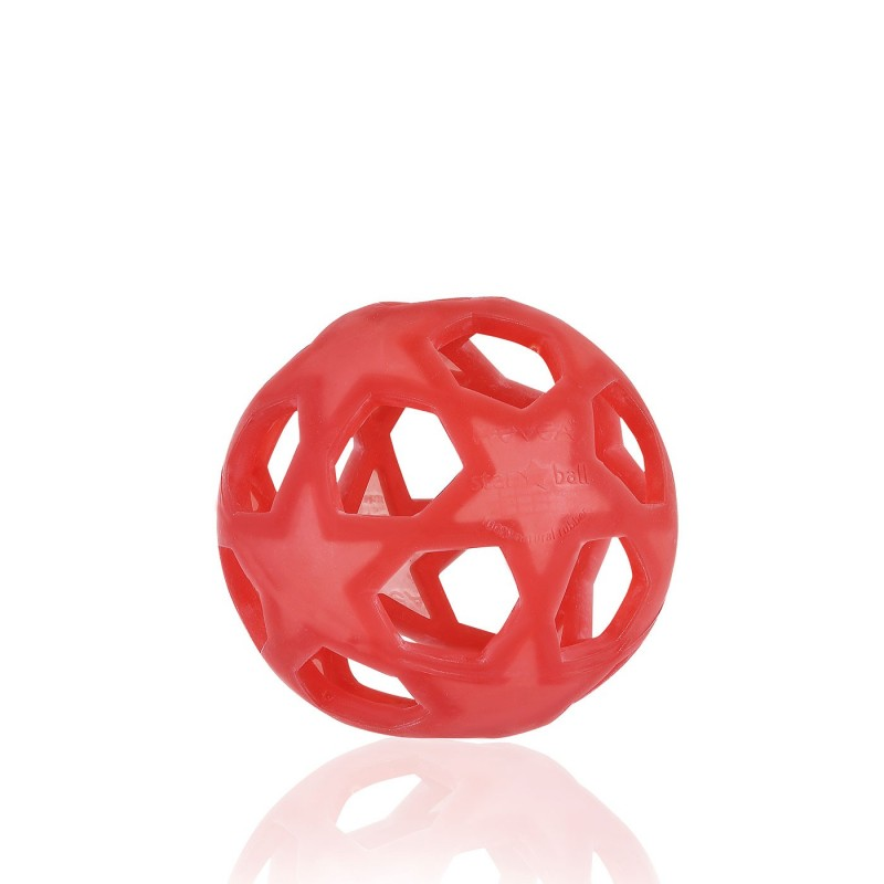 Bola estrellas roja de caucho natural