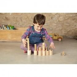 6 cubiletes con tapa de madera natural