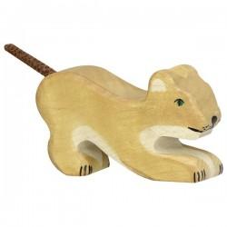 León pequeño jugando- Animal de madera