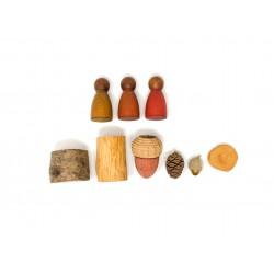 3 Nins® colores cálidos y madera oscura