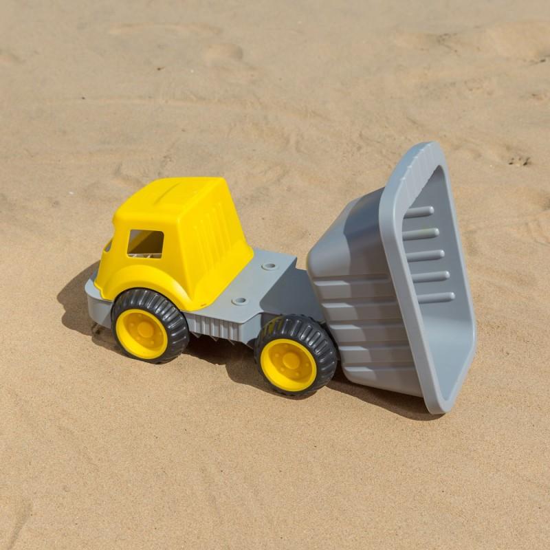 Camión volquete grande azul HAPE playa