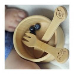 Cuchara y tenedor de Bambú KIDS